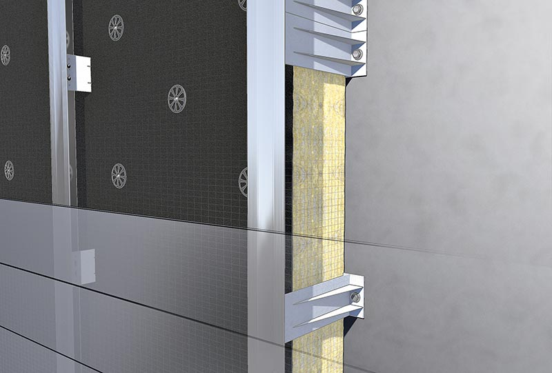 TEKOFIX bracket by MAAS-BEMO made of thermoplastic Ultramid® by BASF in the insulation; sectional view