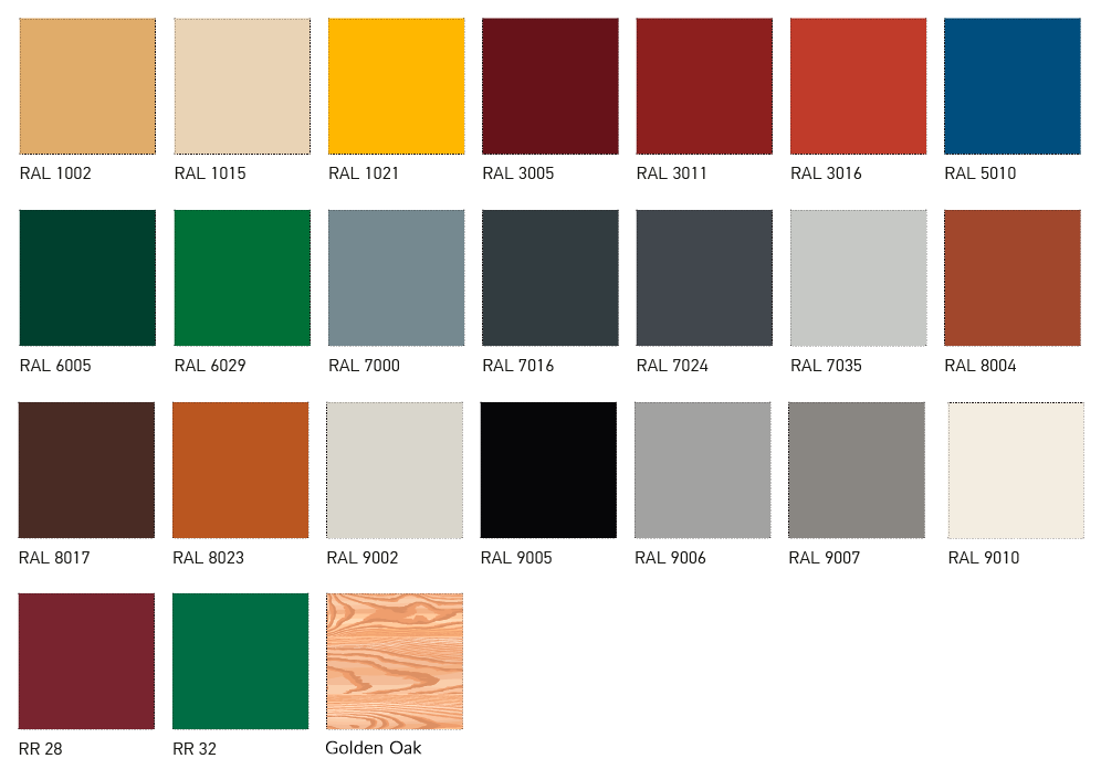 Standard RAL colours of the external sheeting PE 25 μm