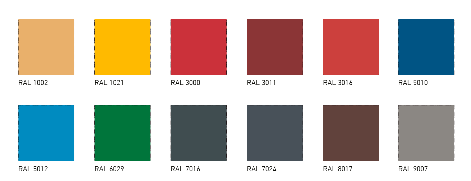 Nonstandard RAL colours of the external sheeting PE 25 μm