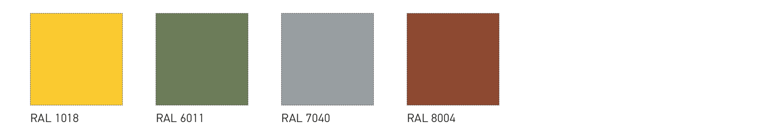 Nonstandard RAL colours of the external sheeting PE 25 μm for special orders