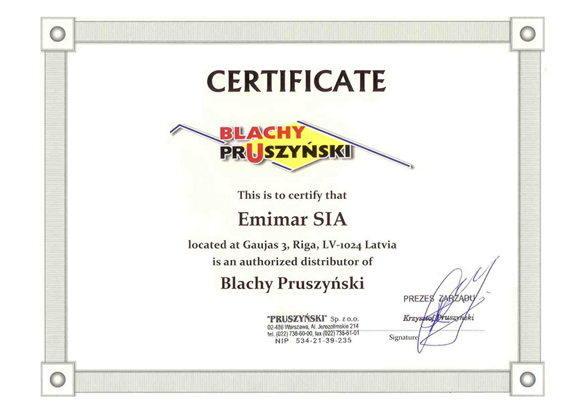«Emimar» is an official representative of «Blachy Pruszyński» in Latvia